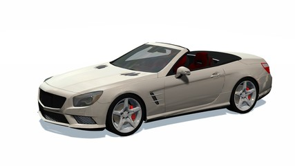 Luxury Cabriolet Car isolated on white background