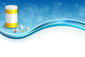 Background abstract blue white medicine tablets red pill plastic yellow bottle packages frame illustration vector