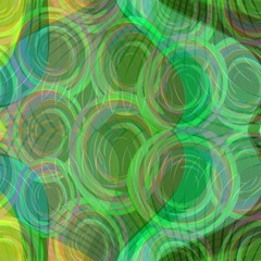 Green abstract background with rounded elements on wavy area