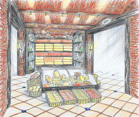 Interior of grocery shop with cheese and wine