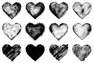 grunge painted black heart shapes set