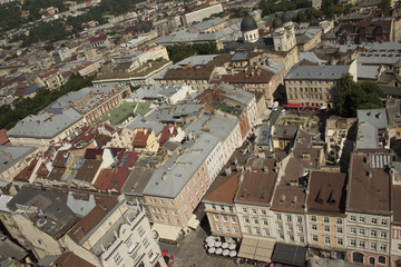 View of the center square  of Lviv