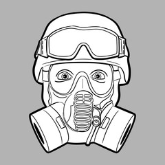 Gas mask soldier - editable vector graphic