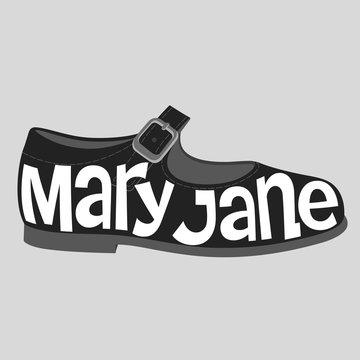 Fashion typography, Mary Jane shoe typography, fashion calligraphy, shoe typography, fashion history, shoe history, shoe types, shoe typology, fashion encyclopedia.