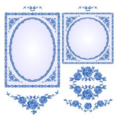 Faience blue frames with floral motif vector