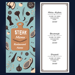 restaurant steak menu ingredients fresh  template backgroud cover with text