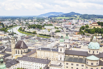 view of the center of Salzburg and the river Salzach from Hohensalzburg Fortress