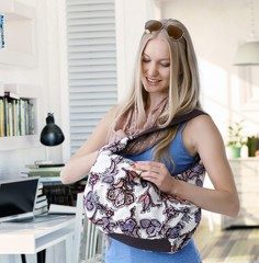 Blonde woman leaving home