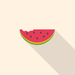 Watermelon slice icon flat design. Vector background.