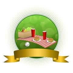 Background abstract green picnic basket hamburger drink vegetables baseball ball circle gold ribbon frame illustration vector