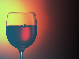 glass of red wine. Filtered image: warm cross processed vintage effect.