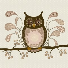 Cute stylized owl on a branch