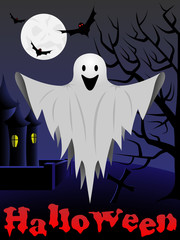 Halloween card with flying ghost
