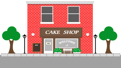Vintage street view with Cake Shop