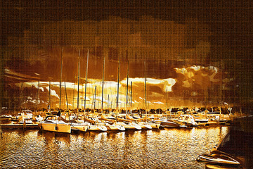 Sea and boats painting