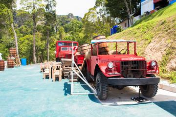 old trucks and landscape view in garden of 7 heaven krabi thaila