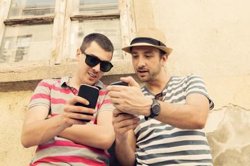 Friends using a smartphone.