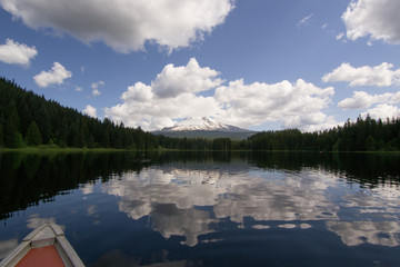 Canoeing on Trillium Lake, Oregon
