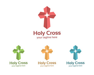 Abstract symbol cross logo template for churches and Christian organizations.