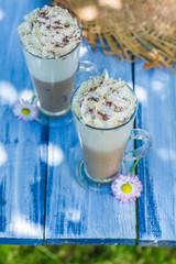 Sweet coffee in sunny garden