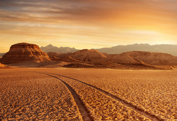 Wall Murals Drought sunset desert