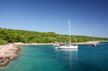 Yachts anchored by Pakleni or Paklinski islands, Hvar, Croatia,