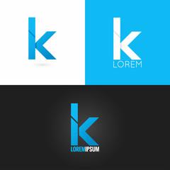 letter K logo design icon set background