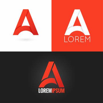 letter A logo design icon set background
