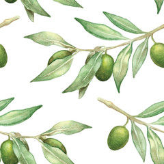 watercolor olive branch seamless pattern