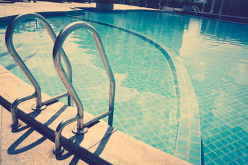 Swimming pool with stairs ( Filtered image processed vintage eff