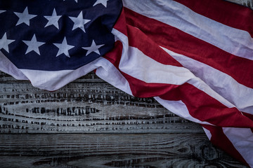 American flag on wood background ( Filtered image processed vint