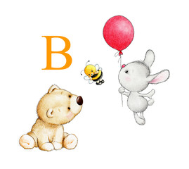 Letter B, bear, bunny, bee, balloon