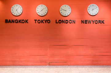 wall clock for to indicate world international time zone.