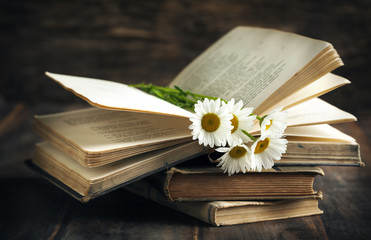 Vintage books and chamomiles on wooden background