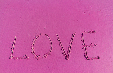 The Inscription on the Sand near the Sea - Pink LOVE.