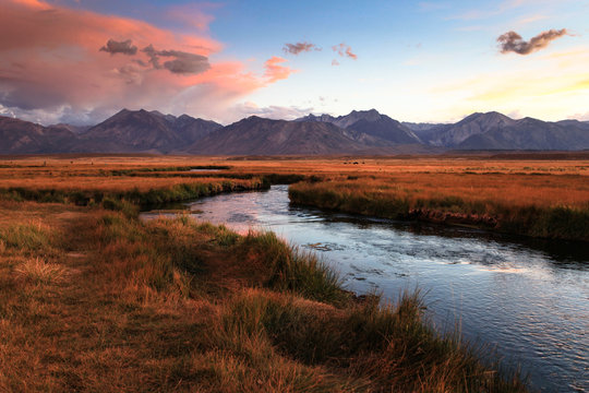 Evening over the Owens River near Mammoth Lakes, CA