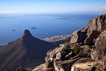 South Africa, Cape town, view of the city from Table mountain