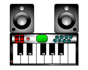 2D ICON ILLUSTRATION OF ELECTRONIC KEYBOARD WITH MONITORS