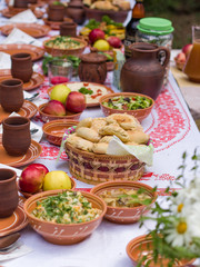 vegetarian festive table with pottery