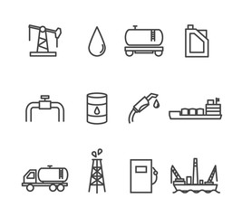 Oil and petrol industry line icon set