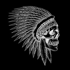 Vector skull of indian chief in hand drawing style