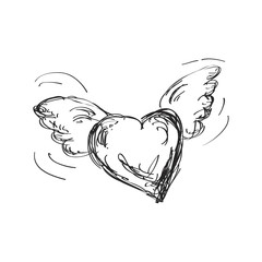 Simple doodle of a flyng heart