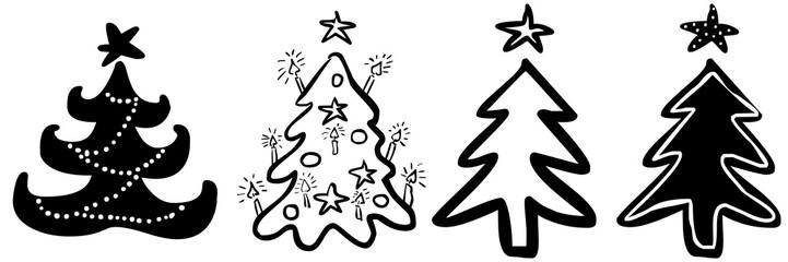 Set: 4 handgezeichnete Weihnachtsbäume, Vektor, freigestellt