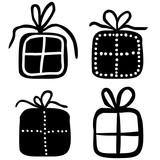 icon geschenk mit schleife schwarz vektor freigestellt stockfotos und lizenzfreie. Black Bedroom Furniture Sets. Home Design Ideas