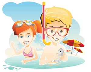 Summer holiday / kids have fun at the sea