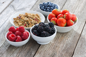 garden berries and muesli on wooden background, horizontal