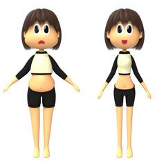 ダイエット前後の体型