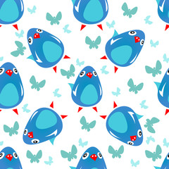blue birds seamless pattern