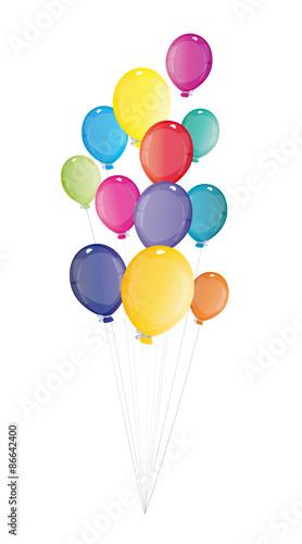 viele bunte luftballons fliegen hoch - einladung zum geburtstag, Einladungen
