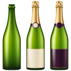 Champagne bottles.